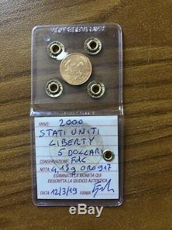 STATI UNITI 5 DOLLARI LIBERTY 2000 4,18 gr ORO 917 sigillata FDC SUBALPINA