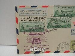 Scott #C18 (4) on 1933 Zeppelin FDC First Day Cover Round Trip Flight + C17