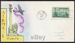 Scott C35 Airmail Mae Weigand Hand Painted First Day Cover Fdc