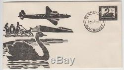 Stamp 1954 Australia 3&1/2d black Swan Jack Peake artistic cachet FDC, GLADSTONE