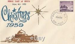 Stamp Australia 5d purple Christmas on 1959 Eric Ogden specific cachet FDC