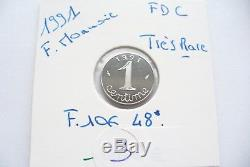 Très Rare Pièce -1 Centime Epi 1991 Frappe Monnaie Fdc