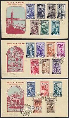 Trieste A 1950 Italia al Lavoro la serie 19 v. Su 3 FDC figurate cert. Carraro
