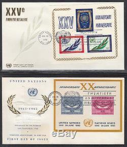 United Nations First Day Covers 600 Total 1950's To 1982